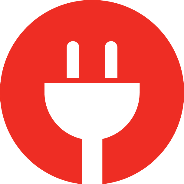 connect | landing | red plug logo